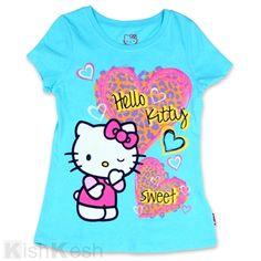 Hello Kitty Hearts Glitter Print Girls Shirt. #GirlsClothing #TShirts