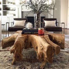 18 wonderful driftwood table ideas you need to see - DIY İDEEN - Holz Tisch - Wood Coffee Table Tree Stump Furniture, Tree Stump Table, Tree Table, Tree Stumps, Unique Furniture, Rustic Furniture, Furniture Design, Furniture Ideas, Outdoor Furniture