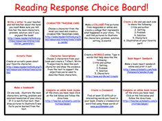 Make these for all subjects/grade levels! Include web resources and iPad apps plus no-tech options … Free Reading Response Choice Board. Each choice has a clickable link to an online resource. Reading Resources, Reading Strategies, Reading Skills, Teaching Reading, Reading Comprehension, Guided Reading, Reading Response Activities, Free Reading, Reading Homework