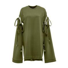 Sleeve Tie Sweatshirt (€150) ❤ liked on Polyvore featuring tops, hoodies, sweatshirts, dresses, lace sweatshirt, lace top, lace sleeve sweatshirt, green sweatshirt and oversized sweatshirt