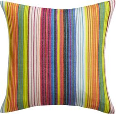 colorful history.  Bold variegated stripes are handwoven in this modern interpretation of traditional Mexican serape textiles.  Each pillow shows variations unique to the hand of the artisan who created it.  Do the math: CB2 low prices include a pillow insert in your choice of plush feather-down or lofty down-alternative (a rare thing indeed).