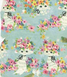 Vintage Wrapping Paper - Cats and Flowers | Flickr - Photo Sharing!