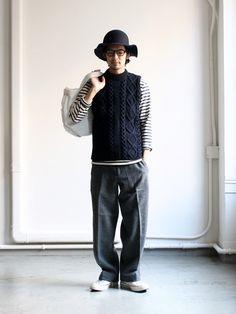 Athena Designs Crew Vest -ナイモノねだり- Tokyo Fashion, Mens Fashion, Stylish Men, Men Casual, Engineered Garments, Japanese Men, Mens Fall, Gentleman Style, Minimal Fashion