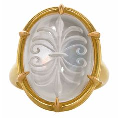 Lilly Fitzgerald Exceptional Inverted Quartz Intaglio Mother-of-Pearl Gold Ring   See more rare vintage Cocktail Rings at http://www.1stdibs.com/jewelry/rings/cocktail-rings