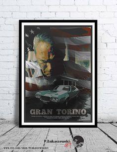 GRAN TORINO alternative movie poster / print Clint Eastwood Walt Kowalski 2008 gto Ford Bee Vang Ahney Her car minimal art artwork classic