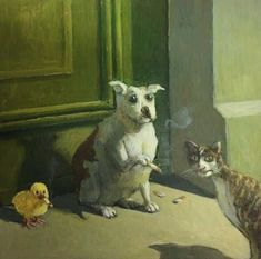 Untitled by Michael Sowa on Curiator, the world's biggest collaborative art collection. Michael Sowa, Art And Illustration, Art Mignon, Weird Art, Surreal Art, Animal Paintings, Aesthetic Art, Cat Art, Art Inspo