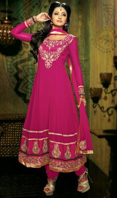 Pink Georgette Long Length Anarkali Suit Price: Usa Dollar $138, British UK Pound £81, Euro102, Canada CA$150 , Indian Rs7452.