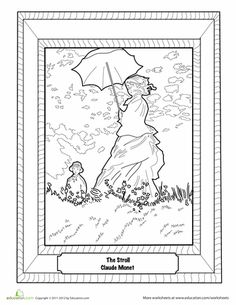 Monet was the father of Impressionist painting. Check out our Art appreciation series - 10 Claude Monet Art Projects for Kids - impressionism, lily pond etc Claude Monet, Projects For Kids, Art Projects, Art Worksheets, Coloring Worksheets, Printable Coloring, Ecole Art, Famous Art, Art Studies