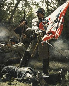 Dress on the Colors Gettysburg - Seminary Ridge - July 1863 American Revolutionary War, American War, American History, Confederate States Of America, America Civil War, Confederate Flag, Military Art, Military History, Civil War Art