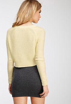 Cropped Purl Knit Sweater | Forever 21 Canada