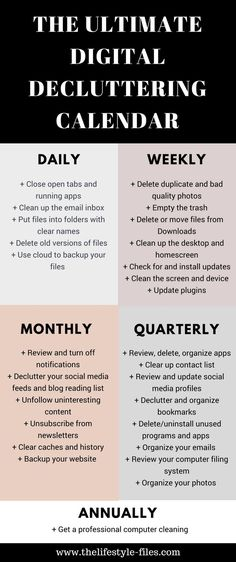 Would you like to clean up your phone, computer, and digital life? Use this  digital decluttering calendar to get organized /// decluttering / organizing / simple living / productivity / digital decluttering tips / organize your life / organize your computer #minimalism #organizing