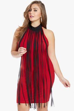 545236095a4f5 Plus Size Festive Fringe Dress