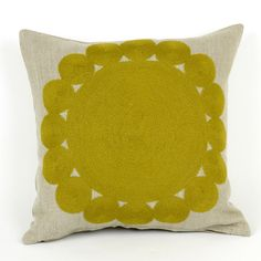 Charlene Mullen Yellow Geometric Big Little Circles Cushion : Yellow on Natural Linen