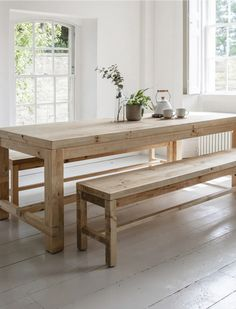 Wooden Brookville Table and Bench Set in Small or Large Dinning Table With Bench, Wooden Kitchen Bench, Narrow Dining Tables, Table With Bench Seat, Large Dining Room Table, Dining Room Bench Seating, Wooden Table And Chairs, Dining Table Chairs, Farmhouse Table With Bench
