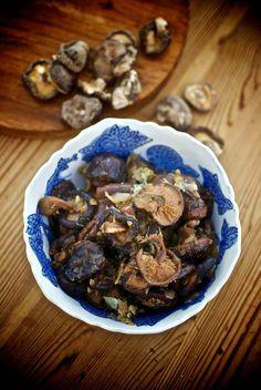 Setas shiitake marinadas, receta china con Thermomix