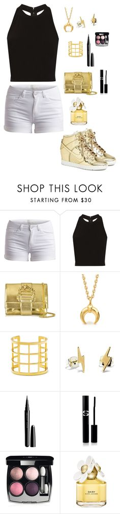 """""""Gold everything"""" by kendalljenner01 ❤ liked on Polyvore featuring NIKE, Pieces, Alice + Olivia, Roberto Cavalli, BaubleBar, Bing Bang, Marc, Sisley Paris, Chanel and Marc Jacobs"""