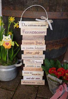 """Wunderschöne Dekotafel zum Thema """"Freundchaft"""" - zum aufhängen oder anlehnen im Shabby Stil Farben beige/braun Ideal zum Verschenken - für liebe Freunde, denen man einfach mal sagen möchte,..."""