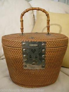 Asian styled bamboo handled purses handbags