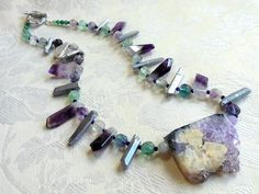 Amethyst and fluorite necklace, fabulous druzy amethyst slice pendant, natural amethyst, silver quartz sticks, purple, green, silver by #EyeCandybyCathy on Etsy