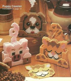 Kitty Puppy Pig Coaster Sets in Plastic Canvas Pattern Instructions | eBay