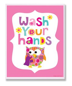 Remind little ones to wash their tiny hands with this sweet sign. Constructed from durable materials and featuring an original design by in-house artists and hand-painted, beveled edges, it's an easily hanged, high-quality lithograph print that perks up any bitty bathroom. 11'' W x 15'' H x 0.5'' DMedium-density fiberboard