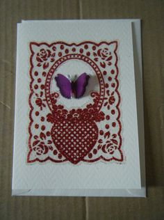 Flutterby butterfly on cream card with lining £1.50