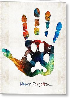 Rainbow Bridge Art - Never Forgotten - By Sharon Cummings Greeting Card by Sharon Cummings