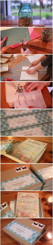 Confetti stuffed invite, cardstock (back) vellum (front) confetti, sew edges