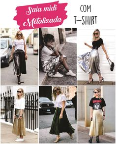 Como usar saia midi plissada metalizada com t-shirt Fashion 2017, Look Fashion, Skirt Fashion, Fashion Dresses, Fashion Trends, Cute Modest Outfits, Casual Street Style, Playing Dress Up, Spring Summer Fashion