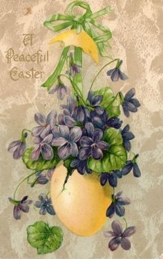 Vintage Easter Greetings Card with Violets Illustration .ru / Фото - 8 - A-legria . Easter Greeting Cards, Vintage Greeting Cards, Vintage Postcards, Vintage Easter, Vintage Holiday, Vintage Birthday, Easter Art, Easter Crafts, Image Nature Fleurs