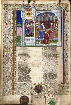 John Talbot, 1st Earl of Shrewsbury, presents this book to Margaret of Anjou, enthroned beside Henry VI. The Shrewsbury Book, Rouen, 1445, Royal 15 E. vi, f. 2v