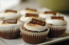 I've made these s'mores cupcakes a few times now and they are SUCH a hit every time--especially with my boyfriend. Plus they're super cute. Serve with a TALL glass of milk, 'cause these babies are rich!