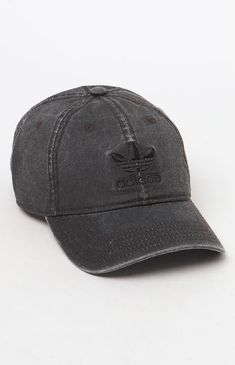 The Washed Black Strapback Dad Hat has an adjustable rear 72f2621516d9