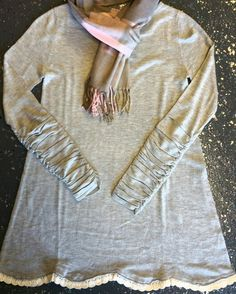 Ruched sleeve, cashmere, lace trimmed comfy cozy tunic