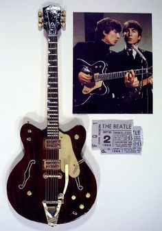 George Harrison's world famous Gretsch Country Gentleman guitar that he played on the Ed Sullivan show. Such a beautiful instrument!