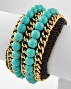 Gold Tone / Brown Turquoise Semi-precious Stone & Brown Woven / Lead Compliant / Cuff Bracelet