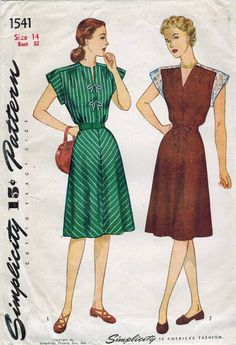 8f39a1ff55af 1940s Simplicity 1541 Vintage Sewing Pattern Misses Dress Size 12 Bust 30