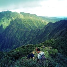 Heading back down with a view of Moanalua Saddle. International travel insurance that includes active and adventure sports like trekking free of charge - check out http://www.clicktravelcover.com/