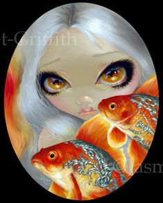 jasmine becket-griffith mermaids | Jasmine Becket Griffith Mermaid Art Print Signed Jeweled Fish Silver ...