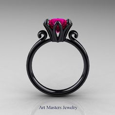 Awe-inspiring, elegant and classy, the new Modern Antique 14K Black Gold 1.5 Carat Rose Ruby Solitaire Engagement Ring AR127-14KBGRR evokes luxury and style is sure to please your special girls taste. Includes: * Modern Antique 14K Black Gold 1.5 Carat Rose Ruby Solitaire Engagement Ring AR127-14KBGRR * 1 x over 5.0 grams TW (approx) of cast solid 14K black gold* (black rhodium coating on 14K solid white gold) ring size 7 sizable * 1 x round 1.5 carat lab created rose ruby (show grade…