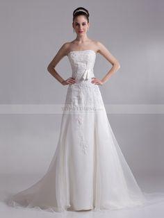 Deena - Strapless princesa organza y satén vestido de novia