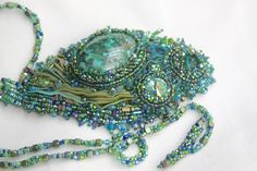 'Dappled Forest' bead embroidery necklace. Chrysocolla, Swarovski and Shibori by Regina Roper