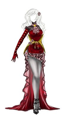 Reminds me of the queen of hearts outfit design - 31 - closed by lotuslumino Dress Drawing, Drawing Clothes, Outfit Drawings, Fashion Mode, Fashion Art, Fashion Design, Trendy Fashion, Anime Outfits, Cool Outfits
