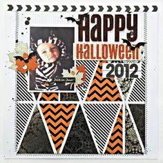 Happy Halloween scrapbook page layout.  mambi pocket pages cards available  at Michaels stores.  Triangles.  Simple Clean Layout.