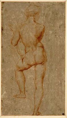 """Raffaelo Santi, Stehender Apoll (Studie für das """"Gastmahl der Götter"""", Villa Farnesina, Rom), 1514-15 © Albertina, Wien"""