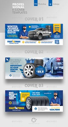 Buy Auto Tires Cover Bundle Templates by grafilker on GraphicRiver. Auto Tires Cover Bundle Templates Fully layered INDD Fully layered PSD 300 Dpi, CMYK IDML format open Indesign or. Facebook Cover Design, Facebook Cover Template, Facebook Timeline Covers, Banner Design Inspiration, Web Banner Design, Web Design, Social Media Banner, Social Media Template, Cover Photo Design