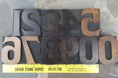 Vintage Wood Letterpress Type Print Block Full Set of 3 inch Tall Numbers 00 - 9 1930s via Etsy.