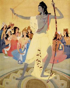 Arjuna as a Victor Abdur Rahman Chughtai Watercolor on paper Abdur Rahman Chughtai is remembered today as possibly the most distinguished Pakistani artist of the century. His work draws from a Spiritual Paintings, Pagan Gods, Oriental, Space Painting, Krishna Art, Krishna Images, Indian Artist, Hindu Art, Indian Paintings