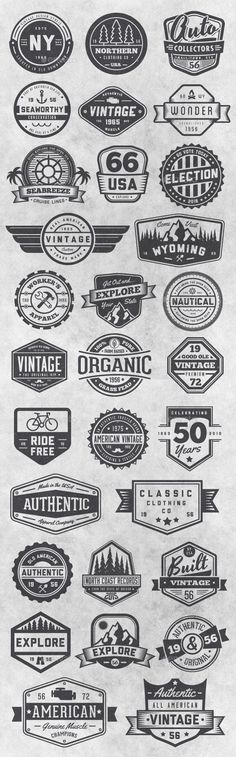 Buy 30 Vintage Style Badges and Logos Vol 6 by GraphicMonkee on GraphicRiver. This vector set contains 30 vintage / retro styled badges, signs and logos. The graphics are vector and are comp. Retro Vintage, Vintage Stil, Style Vintage, Vintage Labels, Vintage Fashion, Vintage Graphic, Graphics Vintage, Vector Graphics, Retro Style