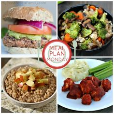 A weekly plant-based meal plan featuring vegan and gluten-free recipes like Instant Pot Oatmeal, Veggie Burgers and more.